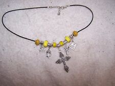 New Religious European Charm Necklace, Yellow. Hand Made By Double H Ranch