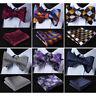 HISDERN Check Men Woven Silk Wedding Self Bow Tie handkerchief Set#RC1