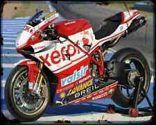 Ducati 1098 F08 Team Xerox  1 A4 Metal Sign Motorbike Vintage Aged