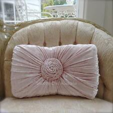 Shabby French Chic Vintage Pink Velvet Rectangle Rose Plush Cushion Toss Pillow