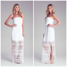 BEBE WHITE CROCHET LACE STRAPLESS MAXI DRESS NWT NEW XSMALL XS