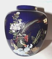 Vintage  Jar Vase Oriental Japanese Navy Blue Porcelain Flowers & Pheasant Bird