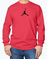 Black Jumpman Logo Michael Jordan Flight Jumpman Red Long Sleeve T-Shirt