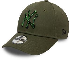 New York Yankees New Era 940 Kids Camo Infill Olive Baseball Cap (4 - 12 Years)