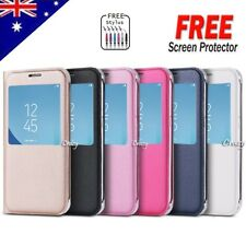 For Samsung Galaxy J5 J7 Pro 2017 Smart S view Flip Leather Case Cover