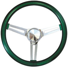 "15"" Mooneyes California 3-Spoke Slot Steering Wheel Green Metal Flake GS270CMGR"