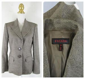 ESCADA Womens Brown Tan Wool Tweed Blazer Jacket Size 38 US 8 M Formal