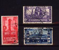 REGNO D'ITALIA 1931 ACCADEMIA NAVALE SERIE COMPLETA 3 VALORI USATI  (B112)