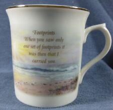 Footprints Coffee Mug Nicky Boehme Lenox Porcelain Gold Trim Lighthouse Beach