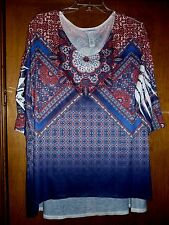 NEW Catherines 1X Red Blue Ombre Sublimation Print Polyester Knit Tunic Top