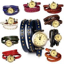 Fashion Women's Ladies Casual Retro Wrist Watch Leather Band Rivet Belt Watch