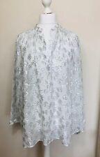 IRIS & INK Size 14 Silk Oversized Tunic Blouse Sliver & Cream Lagenlook Metallic