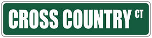 Green Aluminum Weatherproof Road Street Signs Cross Country Home Decor Wall