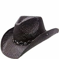 NEW PETER GRIMM VADO BLACK STRAW COWBOY HAT SKULLS & RINGS BAND O/S FREE SHIP!!!
