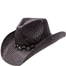 PETER GRIMM VADO BLACK STRAW COWBOY HAT SKULLS & RINGS BAND - O/S - FREE SHIP!