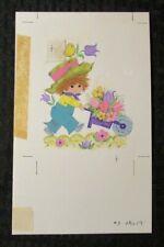 "VALENTINES DAY Cute Boy w/ Flower Cart & Bird 5.5x8.5"" Greeting Card Art #2258"