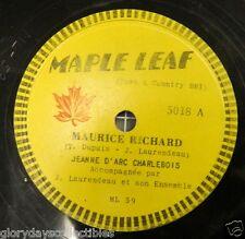 1955 Maurice Rocket Richard Montreal Canadiens 78 RPM Record Rare Vtg Hockey NHL