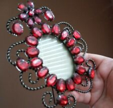 Vintage red rhinestone ornate picture frame Victorian style international silver