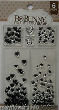 Bo Bunny Clear Stamp Set HEARTS AND STARS backgrounds Set of 6 stamps