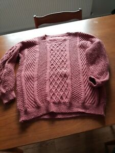 Hand knitted Jumper Womens Pink 16+