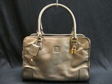 Auth LOEWE Amazona 352.37.B36 Bronze Leather Handbag
