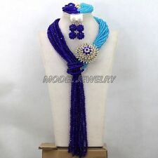 Blue Long Necklace for Women Crystal Strands Jewelry Set Costume Jewelry Set New