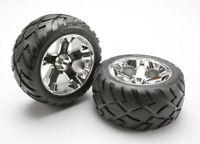 Traxxas Part 5576R Tires wheels assembled glued All-Star chrome Jato Rustler New