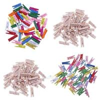 50pcs Mini Wooden Craft Pegs Clothes Scrapbook Paper Photo Hanging Spring Clips