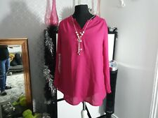 Magenta Hot Pink Simply Be Shirt With Necklace uk 16