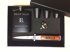 4 Personalized Groomsmen Gift Set box Custom Engraved Pocket Knife Flask Bestman