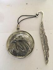 Eagle On Disc TG69  Made In Solid Fine English Pewter On A FEATHER Bookmark