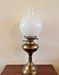 Vintage brass Duplex burner oil lamp & shade working order lovely condition