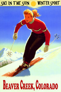 Ski In The Sun Beaver Creek Woman Downhill Skiing Vintage Poster Repro FREE S/H