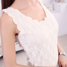 Sexy Perspective Sleeveless Women Solid Lace Slim Fit Tops Tank Vest Camisole EF