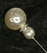"Vtg 1950s 4"" Dress Hat Stick Pin w Double Faux Freshwater Pearls Rhinestones Top"