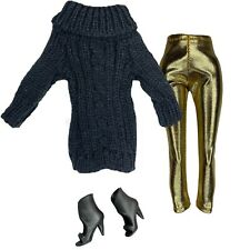 BLACK KNIT Sweater Gold Leggings Fashion Pack Clothes SHOES Lot Fits Barbie Doll