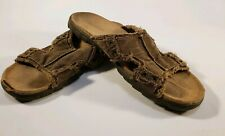 GOTCHA Comfort Fray Cushioned Slides-Sandals Beige Hemp Mens Size 13M