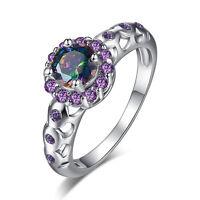 Amethyst Rainbow Gemstone Fashion Women Gift Silver Ring US Size 6 7 8 9 10 11