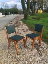 2 Chaises Vintage 1960 en chêne et skaï, montures pieds compas