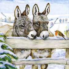 4x Paper Napkins for Decoupage Donkeys and Robin