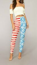 Mid-Rise 4th July Independence American Flag USA Skinny Leg Pants Only Size OS