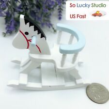 1:12 Dollhouse Miniature Wooden Rocking Horse Chair Nursery Room Furniture Blue