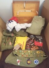 Vintage 1950's Boy Scout Trunk Lot Sash Patches Badges Uniforms Tools Beads Etc