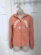 NWT Abercrombie And Fitch Women Logo Graphic Hoodie Light Coral, LARGE