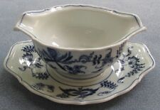 Blue Danube Gravy Sauce Boat With Underplate US Banner Mark