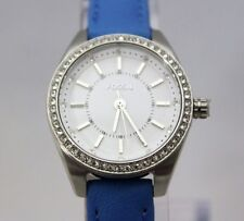 New Fossi Carissa Stainless White Dial Crystal Blue Leather Watch BQ3147