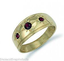 Mens Garnet Ring Garnet Ring Yellow Gold Garnet Ring Gents 9k Gold Real Garnet