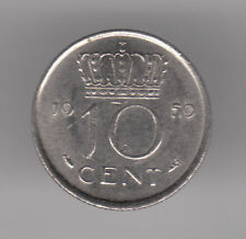 Netherlands 10 Cents 1959 Nickel Coin - Queen Juliana