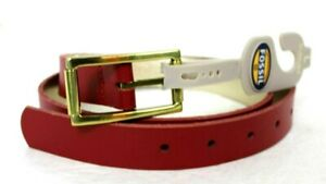 "NEW FOSSIL RED / GOLD GENUINE LEATHER BELT SIZE ML 32-34 40"" LONG"