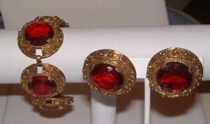 Vintage Chunky Garnet Glass Fancy Etruscan Looking Wide Bracelet & Earrings Set